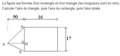 Calcul de l'aire d'une figure géométrique : exercices en 5ème.
