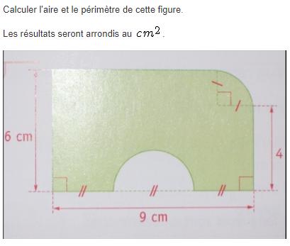 Calcul d'aire et de périmètre d'une figure : exercices en 5ème.