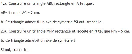 Symétrie axiale et triangles : exercices en 6ème.