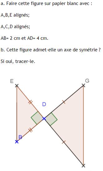 Axe de symétrie d'une figure : exercices en 6ème.