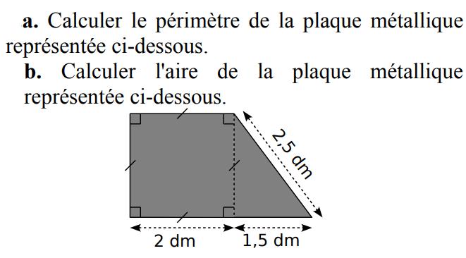 Périmètre et aire d'une plaque métallique : exercices en 5ème.