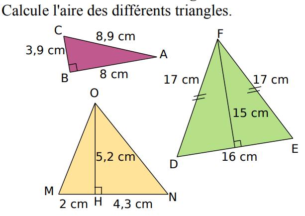 Calculer l'aire des différents triangles : exercices en 5ème.
