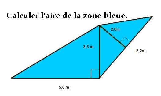 Aire d'une zone bleue : exercices en 5ème.