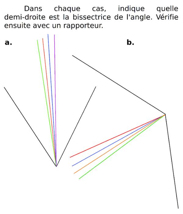 Indiquer quelle droite est la bissectrice : exercices en 6ème.