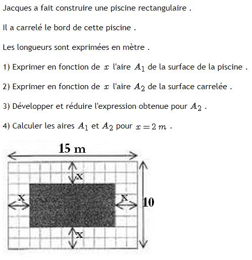 Piscine et calcul littéral : exercices en 3ème.