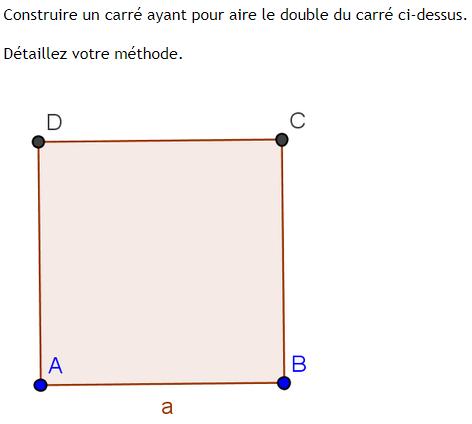Problème ouvert sur l'aire d'un carré. : exercices en 3ème.