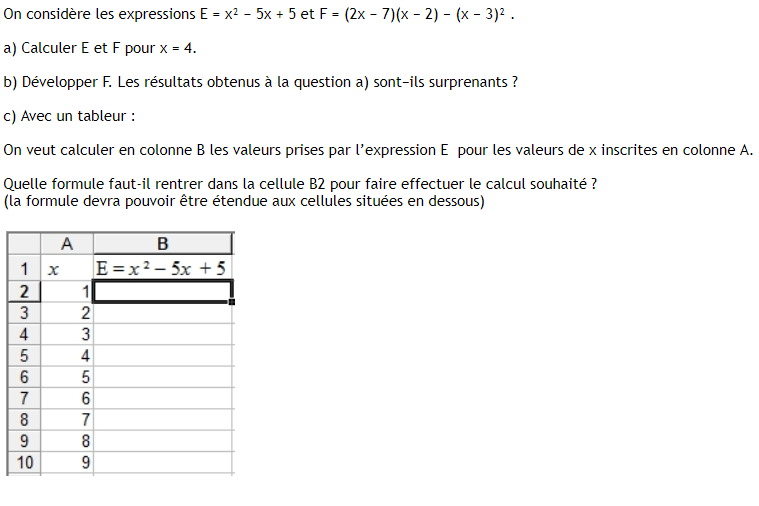 Utilisation du tableur et calcul littéral : exercices en 3ème.