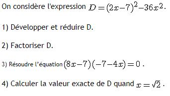Développer,factoriser et résoudre : exercices en 3ème.
