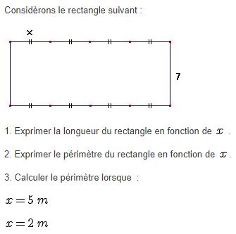 Périmètre d'un rectangle et calcul littéral. : exercices en 5ème.