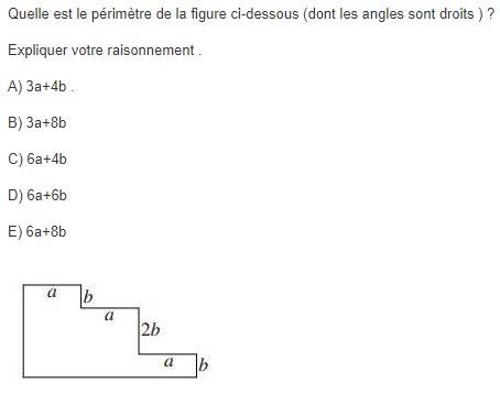 Calcul de périmètre et calcul littéral  : exercices en 5ème.