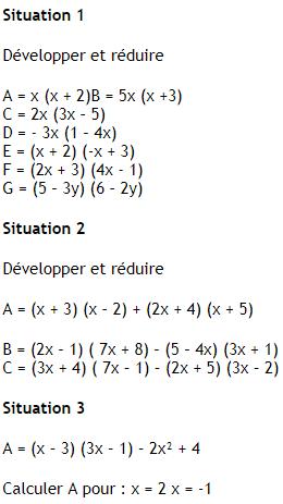 Calcul littéral et développement : exercices en 4ème.