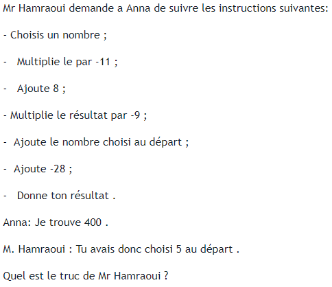 Programme de calcul de mr Hamraoui : exercices en 4ème.