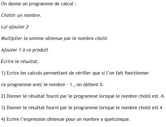 Programme de calcul et calcul littéral. : exercices en 4ème.