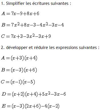 Controle de calcul littéral : exercices en 4ème.