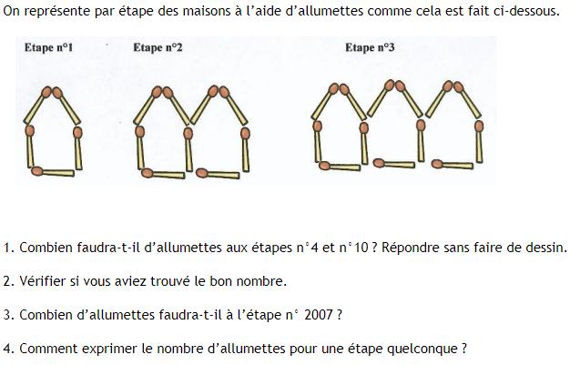 Activité d'introduction au calcul littéral : exercices en 4ème.