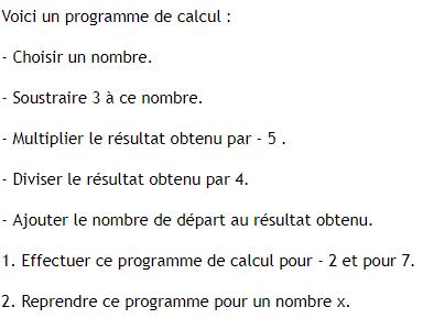 Programme de calcul. : exercices en 4ème.