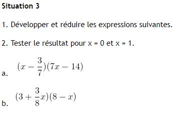 Calcul algébrique. : exercices en 4ème.