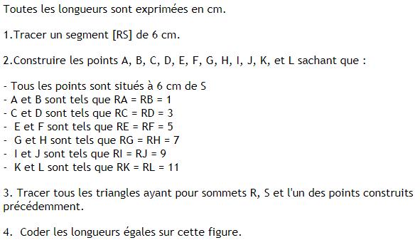 Construction de cercle et triangles . : exercices en 6ème.