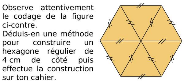 Construction d'un hexagone régulier : exercices en 6ème.