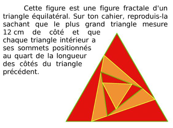 Une fractale d'un triangle équilatéral : exercices en 6ème.