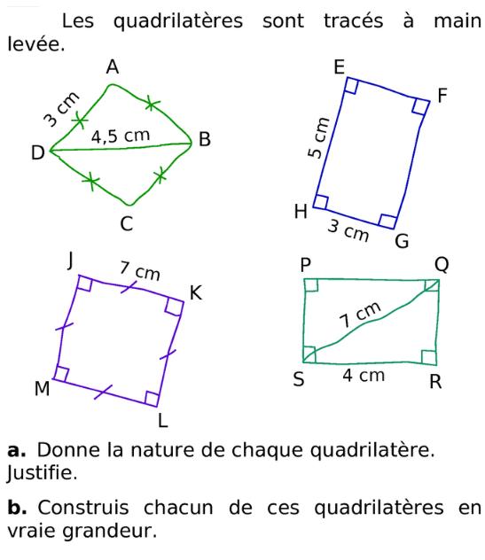 Nature et constructions de quadrilatères : exercices en 6ème.