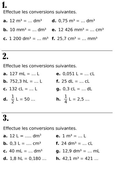 Volumes et conversions : exercices en 6ème.
