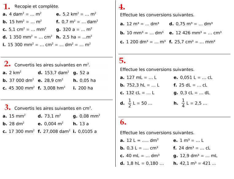 Conversions de volumes : exercices en 4ème.