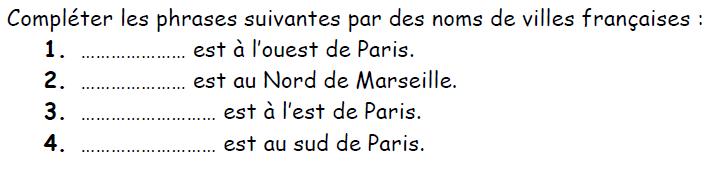 Nom de villes françaises : exercices en 3ème.