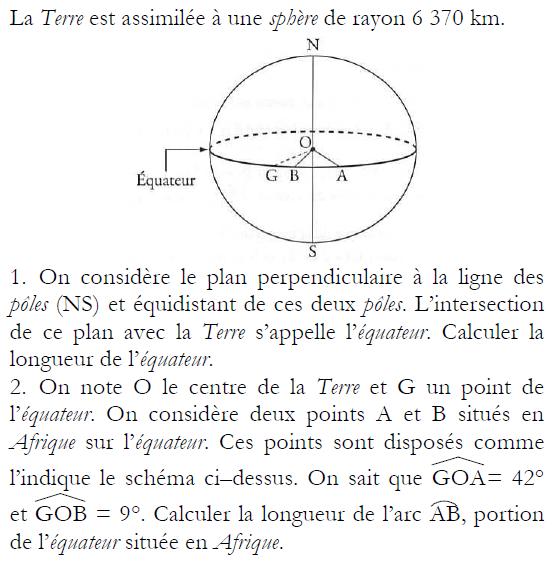 Calculer la longueur d'un arc de l'équateur : exercices en 3ème.