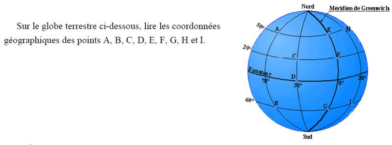Globe terrestre et coordonnées : exercices en 3ème.