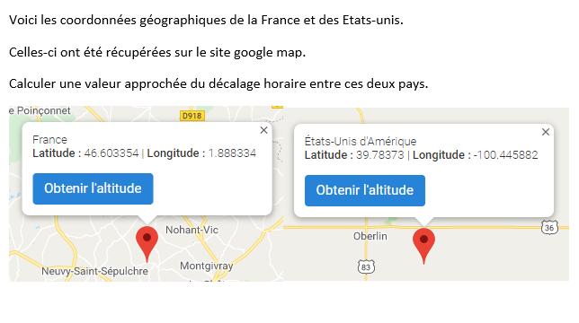 Décalage horaire entre la France et les Etats-unis : exercices en 3ème.