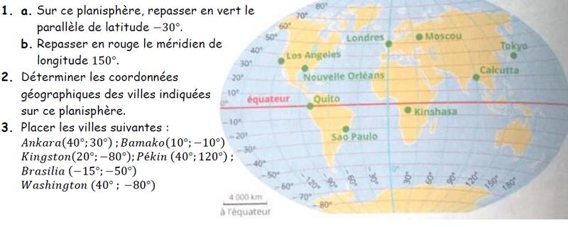 Coordonnées géographiques sur le planisphère : exercices en 3ème.