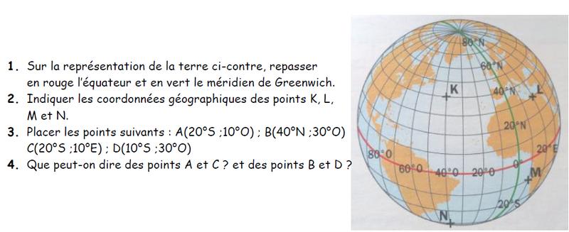 Coordonnées géographgiques de points : exercices en 3ème.