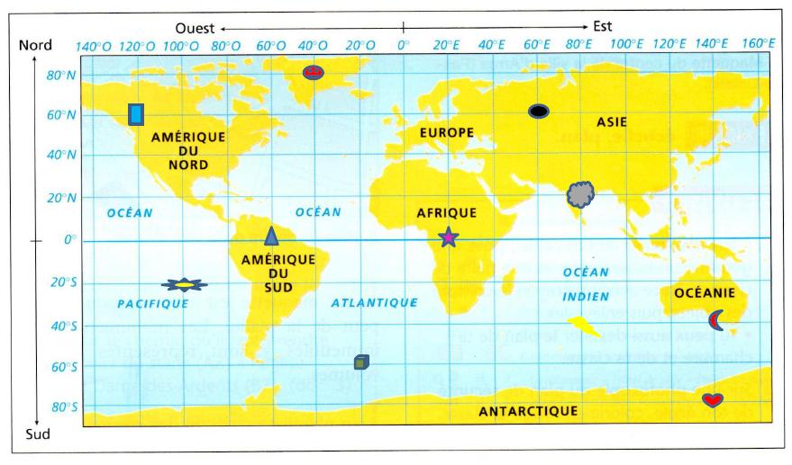 Coordonnées géographiques de certaines villes : exercices en 3ème.