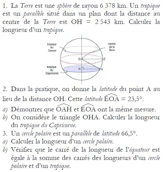 Calculer la longueur du tropique du Capricorne : exercices en 3ème.