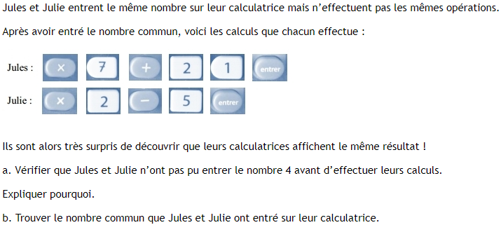 Trouver un nombre et équation : exercices en 4ème.