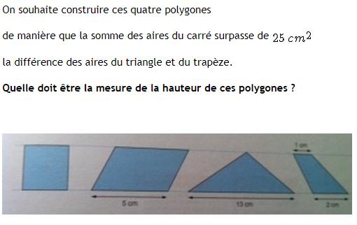 Hauteur et aire de polygones : exercices en 4ème.