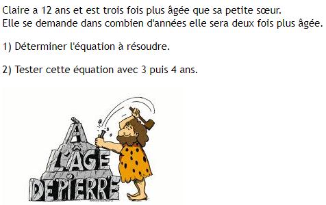 Equation et âge : exercices en 4ème.