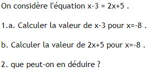 Test des solutions d'une équation : exercices en 4ème.