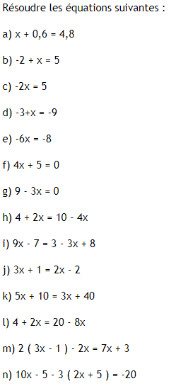 Résoudre des équations du premier degré : exercices en 3ème.