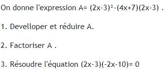 Développement,factorisation et équation de produit nul. : exercices en 3ème.