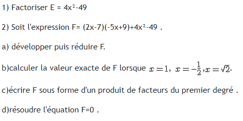 Factorisation et equations : exercices en 3ème.