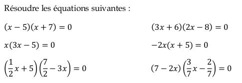 Résoudre une équation-produit : exercices en 3ème.