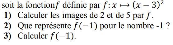 Fonction carrée et calculs d'images : exercices en 3ème.