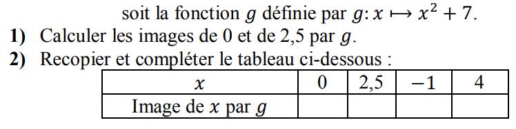 Tableau de valeurs et fonction carrée : exercices en 3ème.