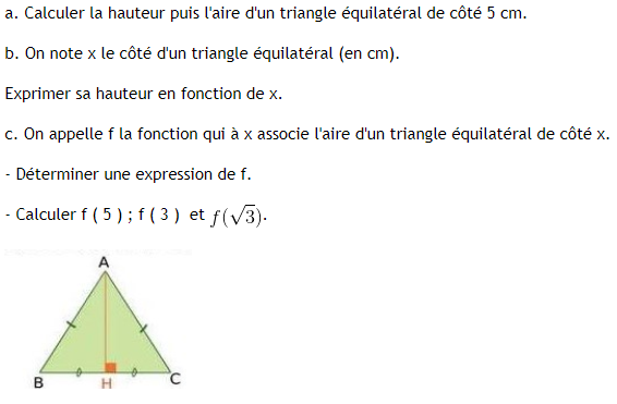 Hauteur d'un triangle équilatéral et fonctions : exercices en 3ème.