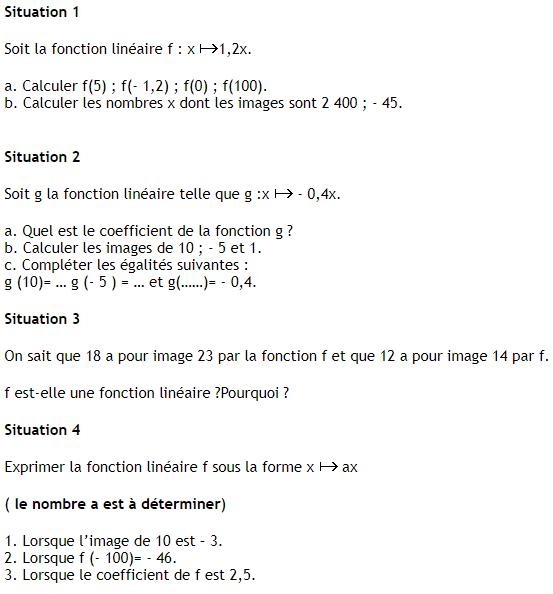 Les fonctions linéaires : exercices de maths 3ème ...