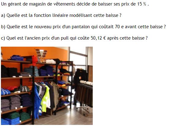 Gérant de magasin de vêtements : exercices en 3ème.