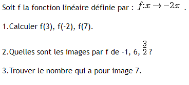 Fonctions linéaires, images et antécédents : exercices en 3ème.