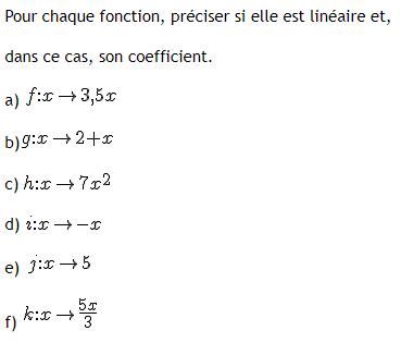 Quelles sont les fonctions linéaires : exercices en 3ème.